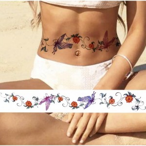 Floral Print Non Toxic Skin Friendly Easy Pasting Waist Tattoo - Red