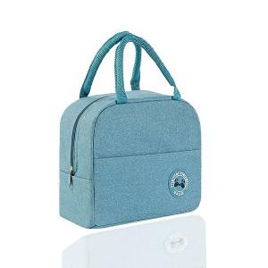 Zipper Closure Fancy Canvas Handheld Traveller Bags - Blue
