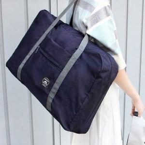 Nylon Zipper Closure Square Shaped Traveller Bags - Dark Blue