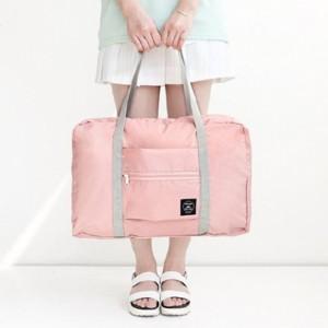 Nylon Zipper Closure Square Shaped Traveller Bags - Pink
