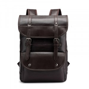 Buckle Closure Synthetic Leather Solid Backpack - Coffee
