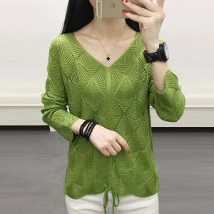 V Neck Geometric Textured Drawstring Blouse Top - Green