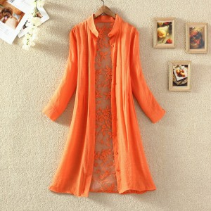Back Thin Fabric Floral Full Sleeves Outwear Cardigan - Orange