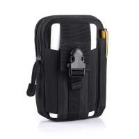 Zipper Closure Traveller Multipurpose Pouch Bags - Black