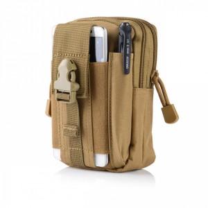 Zipper Closure Traveller Multipurpose Pouch Bags - Khaki