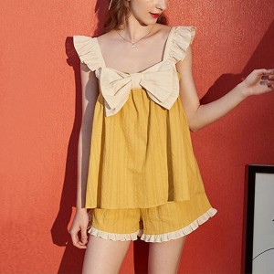 Bow Patched Contrast Two Pieces Suit - Yellow