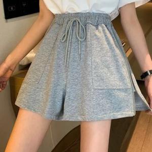 Elastic String Closure Casual Wear Mini Skirt Shorts - Gray