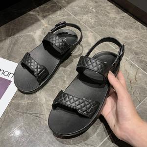 Patchwork Buckle Closure Flat Sole Sandals - Black