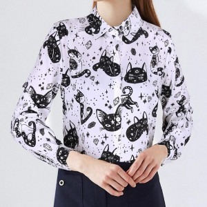 Cat Printed Vintage Style Full Sleeves Shirt - White
