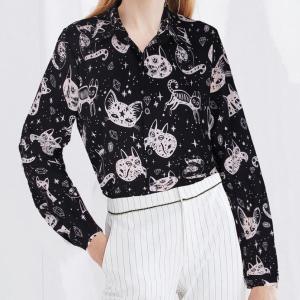 Cat Printed Vintage Style Full Sleeves Shirt - Black
