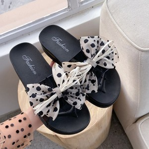 Bow Patched Flat Wear Printed Slippers - White