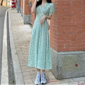 V Neck Floral Prints Short Sleeves Midi Dress - Green