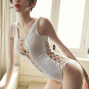 Lace String Closure Body Fitted Sexy Wear Bodysuit - White