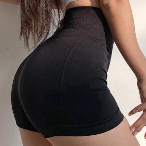 Thin Fabric Sports Wear Mini Shorts - Black