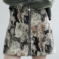 Zipper Closure Vintage Style Cat Digital Printed Mini Skirt