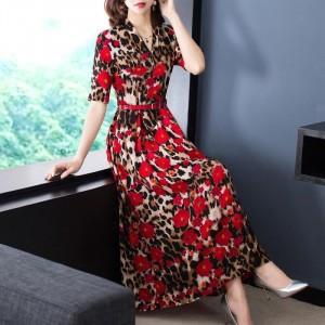 Leopard Printed Floral Pattern Maxi Dress