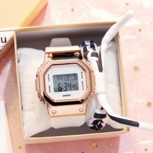 Buckle Closure Sports Wear Digital Wrist Watch - Golden