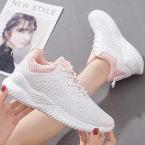 Mesh Breathable Canvas Soft Sole Sneakers - White Pink