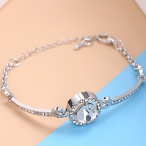Silver Plated Crystal Patched Hook Closure Bracelet