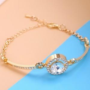 Gold Plated Crystal Patched Hook Closure Bracelet