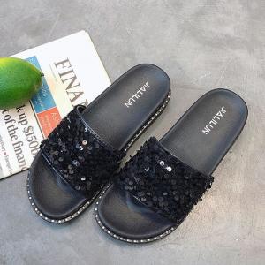 Sequins Decorative Flat Wear Women Fashion Slippers - Black