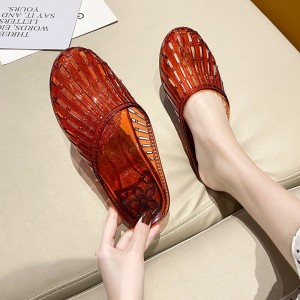 Plastic Sole Hollow Round Toe Slippers - Red