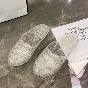 Plastic Sole Hollow Round Toe Slippers - Transparent