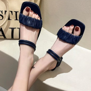 Ruffled Flat Casual Solid Color Sandals - Blue