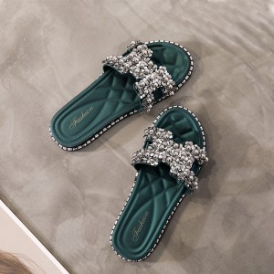 Crystal Patched Flat Wear Slippers - Green