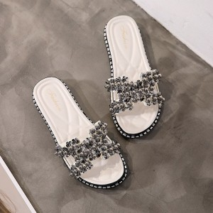 Crystal Patched Flat Wear Slippers - White