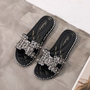 Crystal Patched Flat Wear Slippers - Black