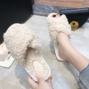 Strap Cross Fluffy Flat Wear Slippers - White