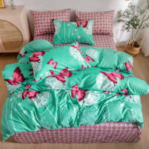 Butterfly Design Without Filler 4 Pieces Single Size Bedding Set