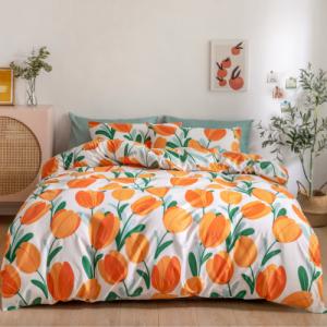 Without filler 6 pieces Queen/Double size, Tulip design orange color, Bedding Set