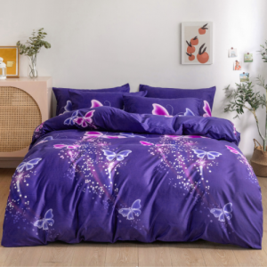 Butterfly Design Without Filler 6 Pieces Queen / Double Size Bedding Set