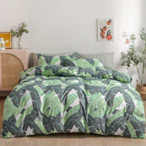 Without Filler 6 Pieces King Size Leaves Design Bedding Set