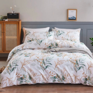 6 Pieces King Size Green Leaves Design Without Filler Bedding Set