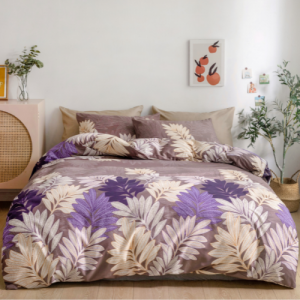 6 Pieces King Size Leaves Design Without Filler Bedding Set