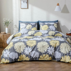 6 Pieces King Size Daisy Flower Design Without Filler Bedding Set