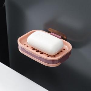 Double Layer Wall Mounted Drying Rack Bathroom Soap Rack - Pink