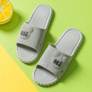 Fine Quality Plastic Cute Cartoon Casual Wear Slippers - Gray
