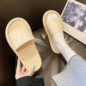Slip Over Soft Bottom Plastic Casual Wear Slippers - Apricot
