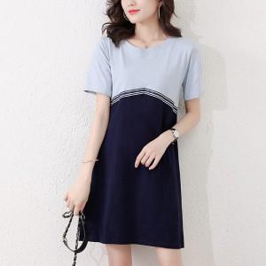 Round Neck Contrast Mini Dress