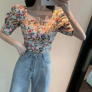 Square Neck Floral Printed Summer Wear Top - Pink