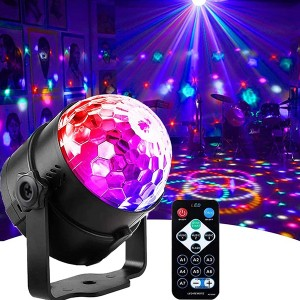 Remote Control Colorful LED Rotating Magic Laser Stage Party Disco Light - Multicolor