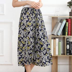 Floral Printed Elastic Waist Summer Wear Skirt Trouser - Dark Blue