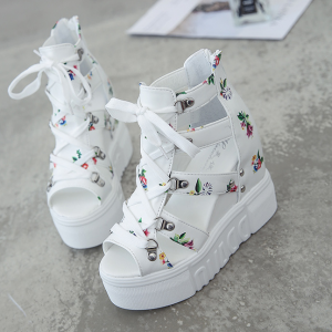 Floral Lace Closure Cage Style Thick Bottom Platform Sandals - White