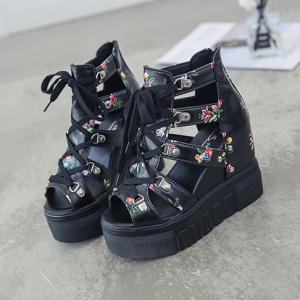 Floral Lace Closure Cage Style Thick Bottom Platform Sandals - Black