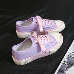 Lace Closure Contrast Flat Wear Sneakers - Purple