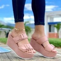 Thick Bottom Foam Sole Fancy Wear Platform Slippers - Pink